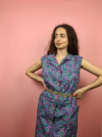 robe vintage violette à fleurs (1)