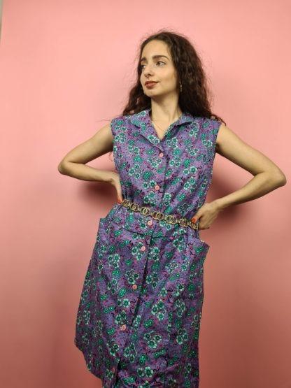 robe vintage violette à fleurs (4)