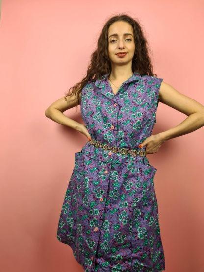 robe vintage violette à fleurs (5)