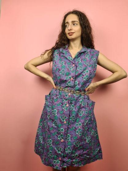 robe vintage violette à fleurs (6)
