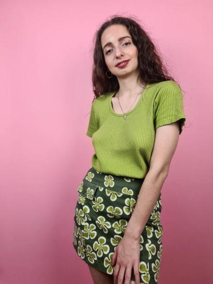 t-shirt vert anis cotelé (10)