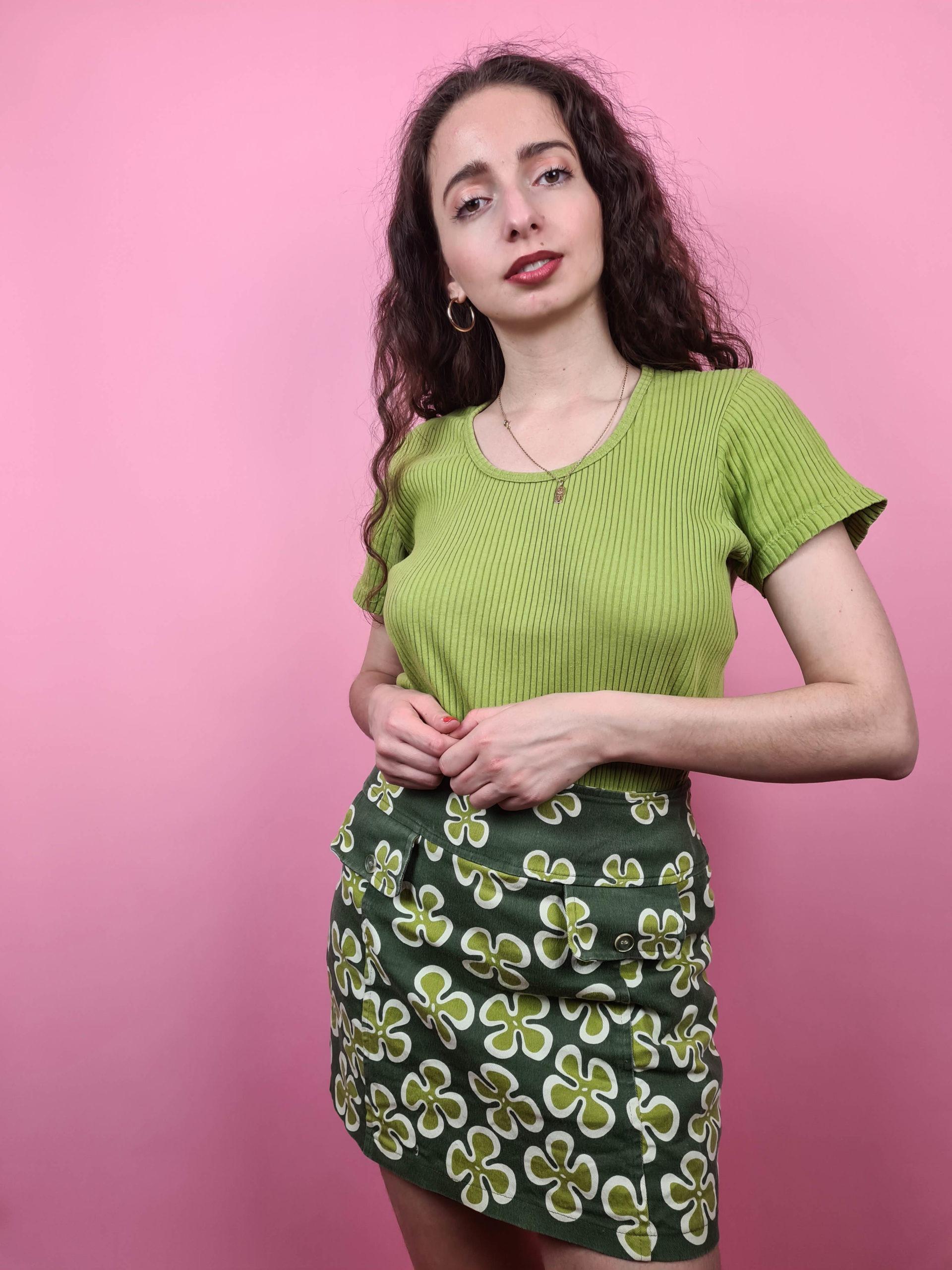 t-shirt vert anis cotelé (2)
