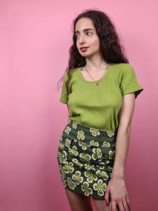 t-shirt vert anis cotelé (3)
