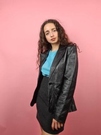 veste blazer noire en cuir (2)