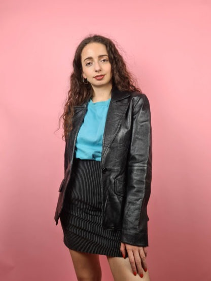 veste blazer noire en cuir (5)