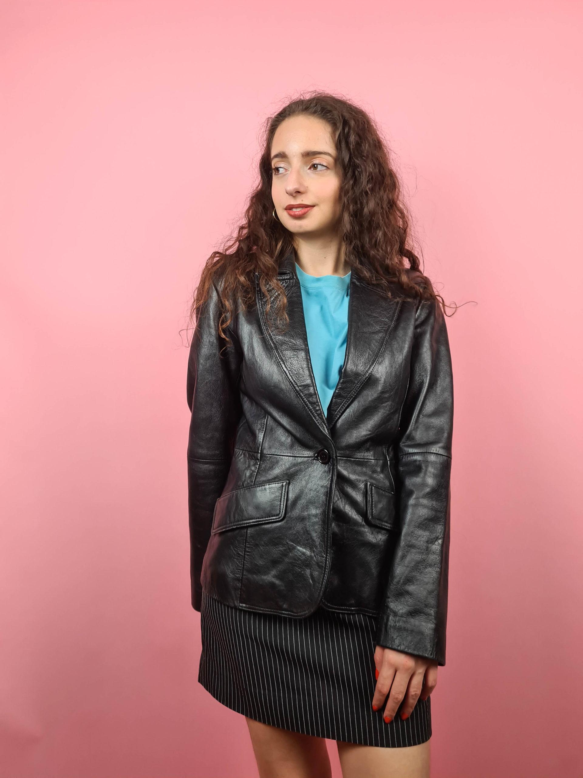 veste blazer noire en cuir (6)