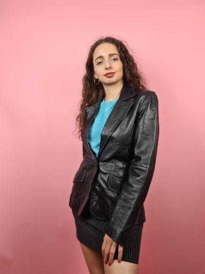 veste blazer noire en cuir (7)