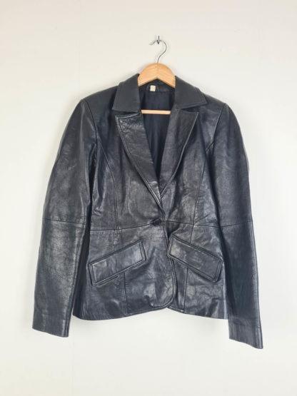 veste blazer noire en cuir (9)