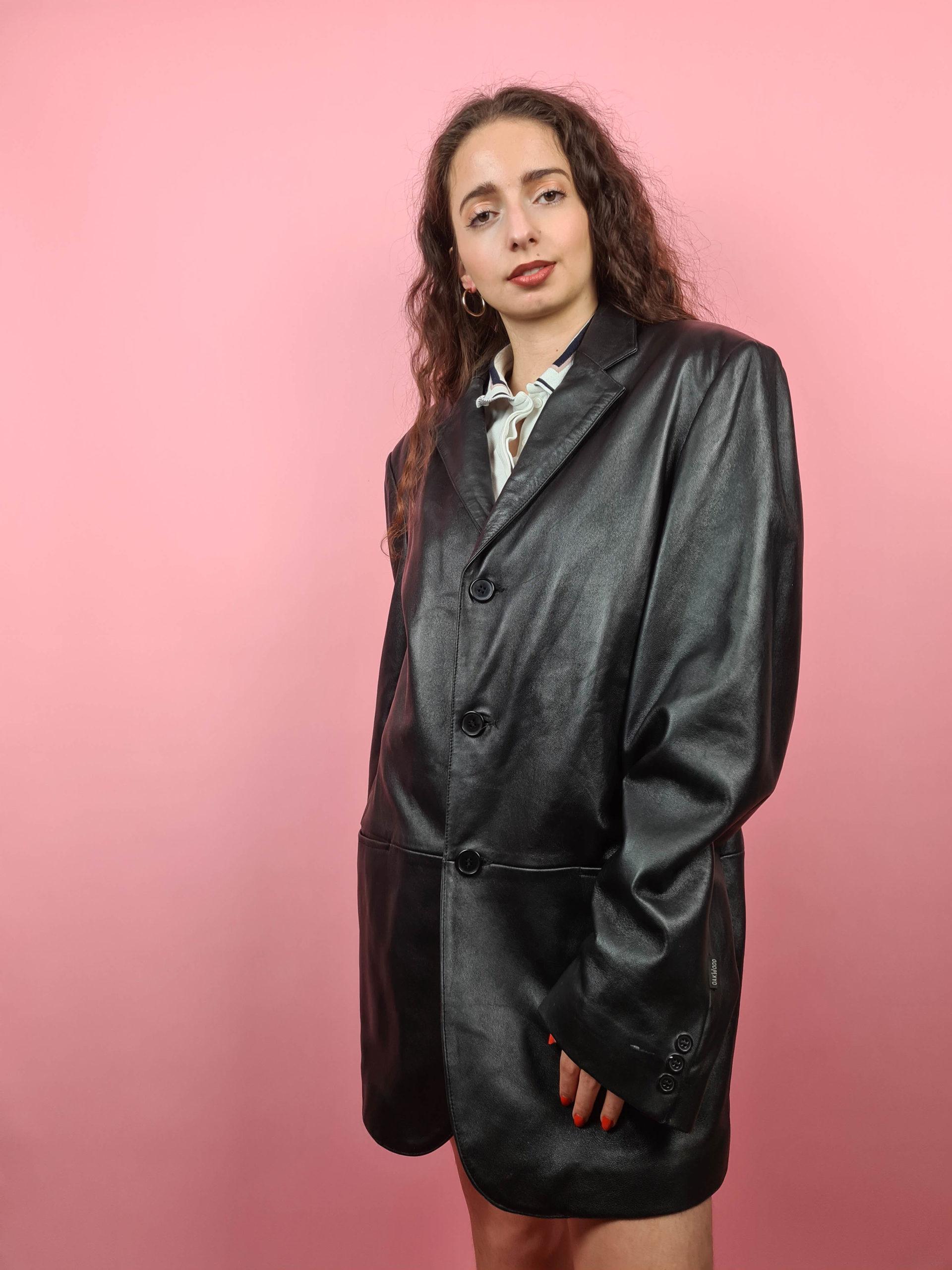 veste en cuir noire Oakwood (3)