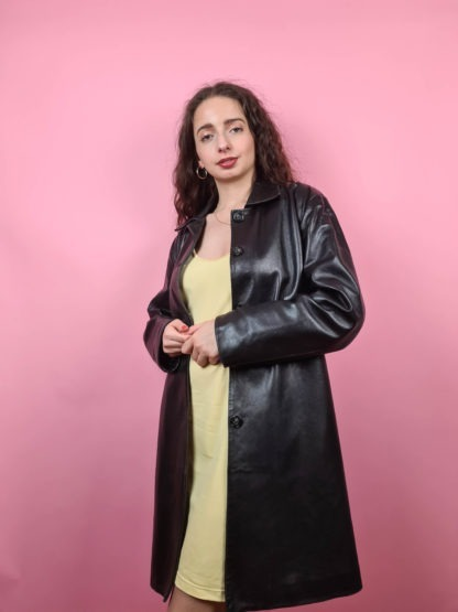 veste longue noire en cuir Anagram (1)
