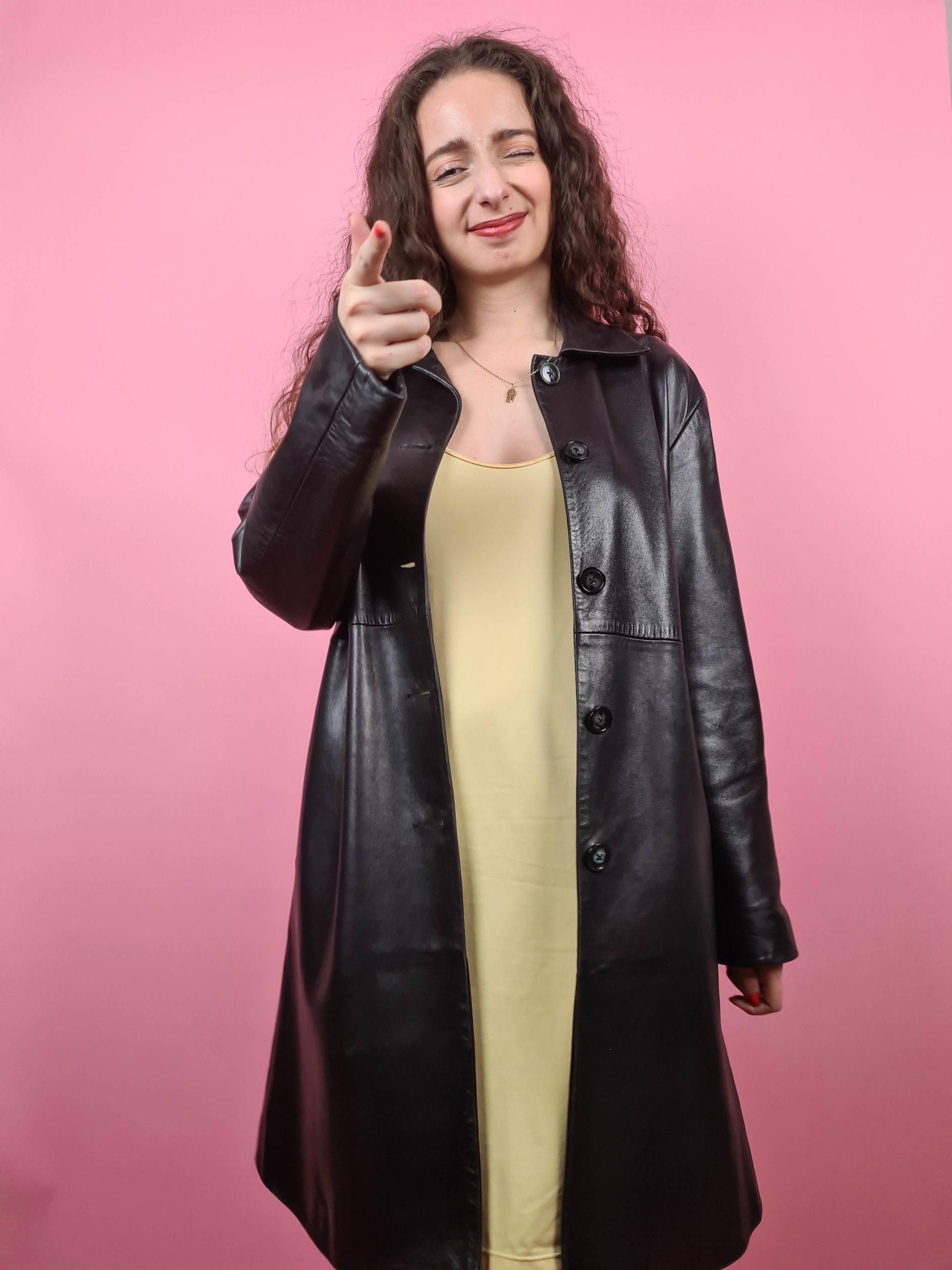 veste longue noire en cuir Anagram (4)
