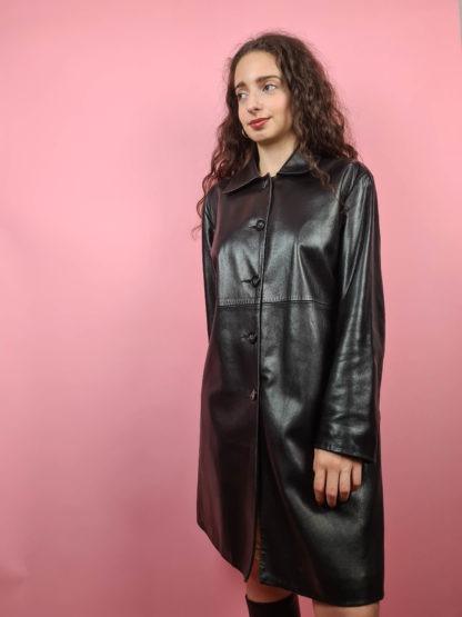 veste longue noire en cuir Anagram (8)