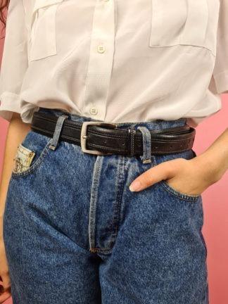 ceinture noire en cuir coutures blanches (1)