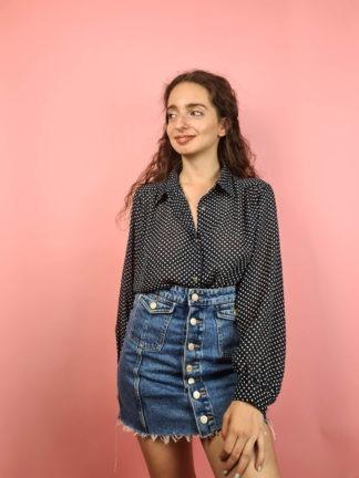chemise bleue transparente à pois (1)