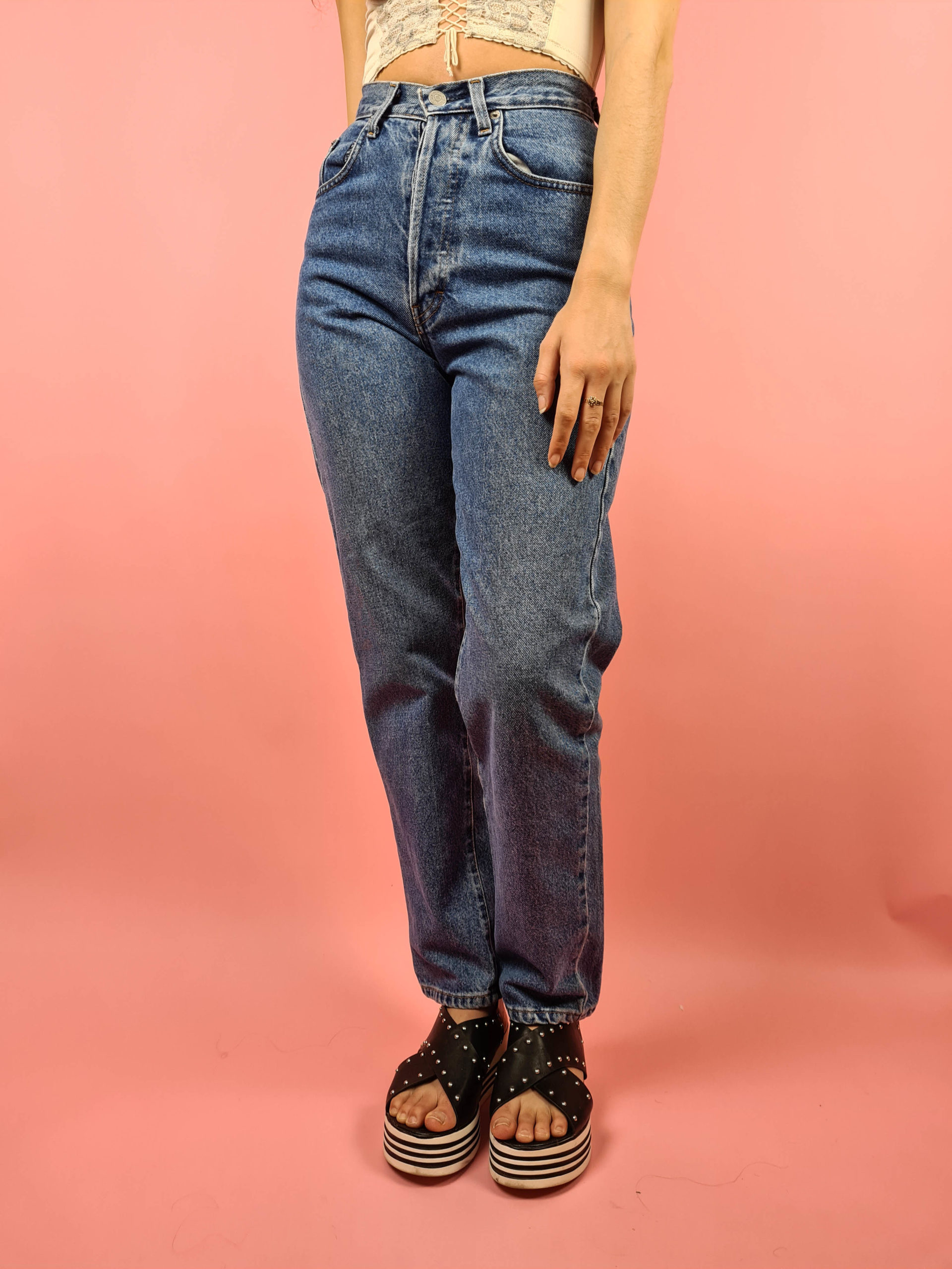jean mom bleu taille haute Ober (7)