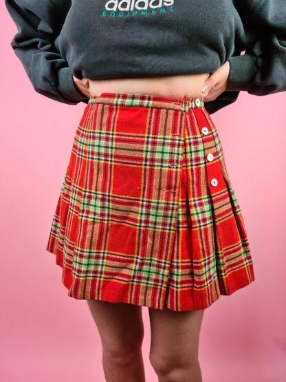 jupe plissée rouge verte (4)