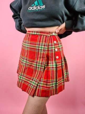 jupe plissée rouge verte (5)