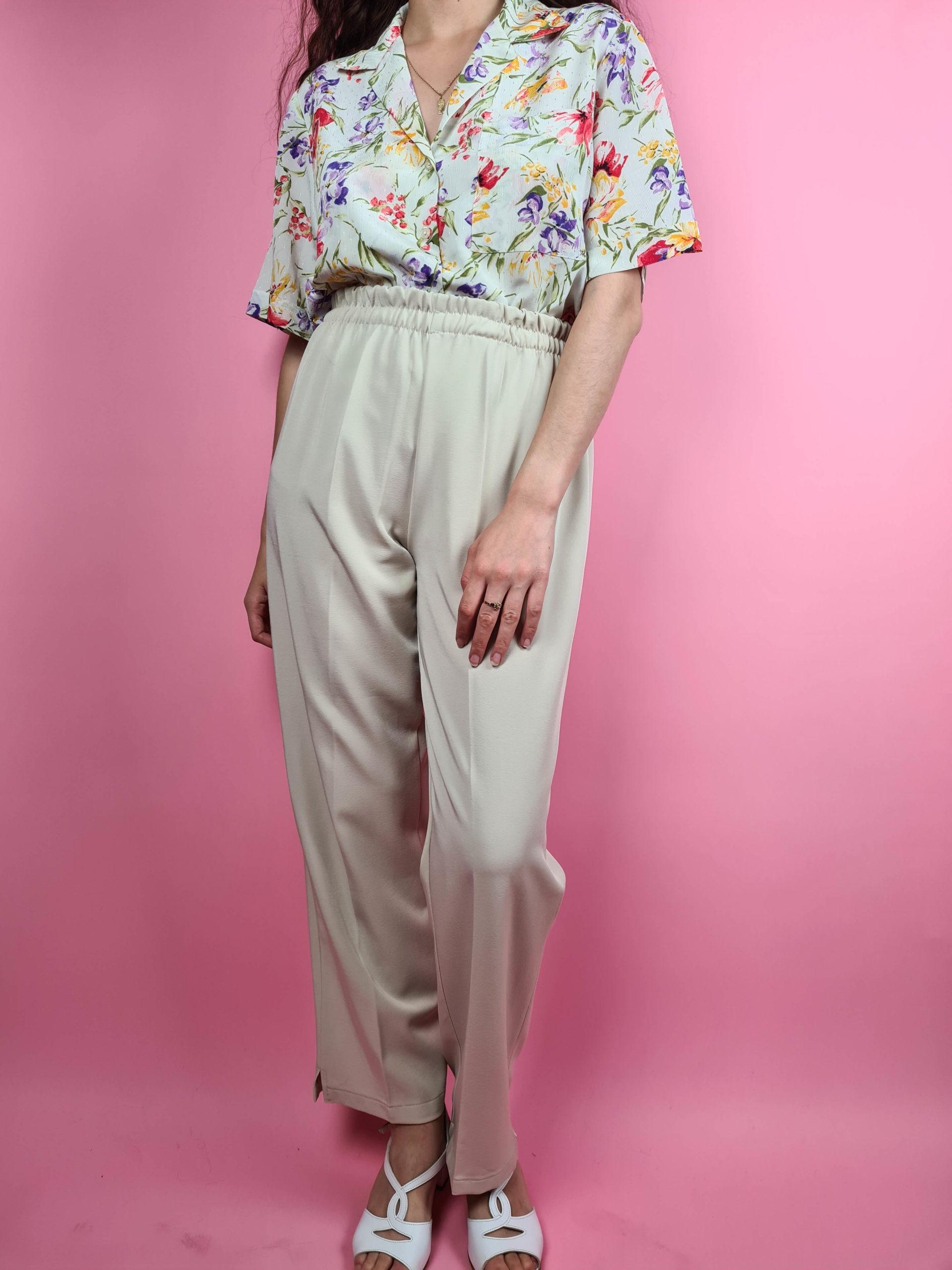 pantalon à pince beige (4)