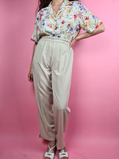 pantalon à pince beige (5)