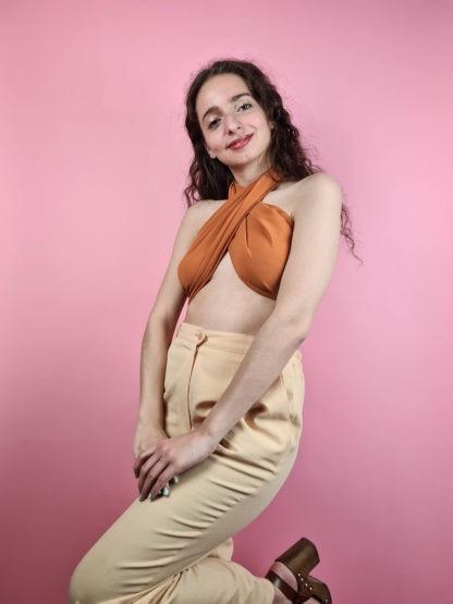 pantalon à pince jaune pastel (7)