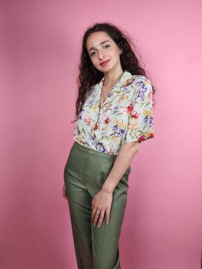 pantalon à pince vert (1)