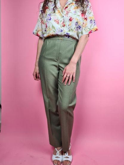 pantalon à pince vert (5)