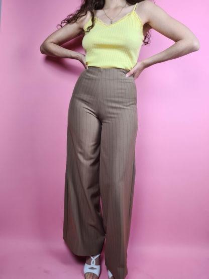 pantalon large camel à rayures taille haute (5)