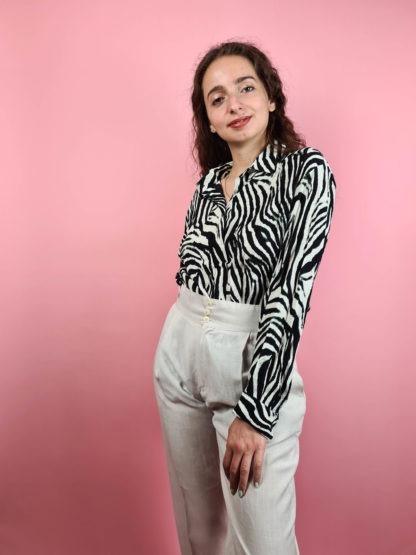 pantalon léger crème taille haute (1)
