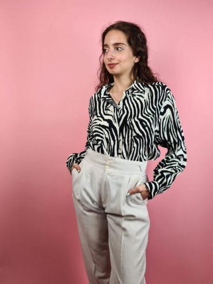 pantalon léger crème taille haute (2)