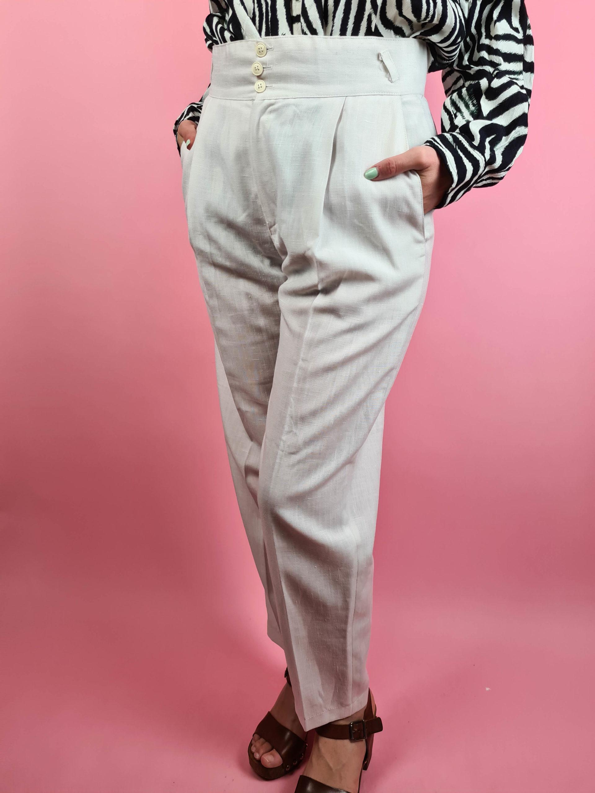 pantalon léger crème taille haute (7)