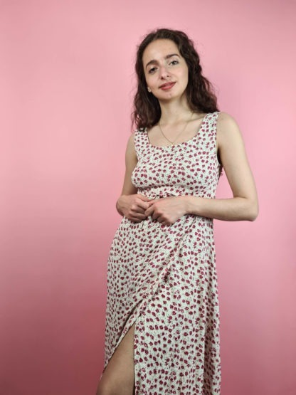 robe longue blanche motif fleuri (1)