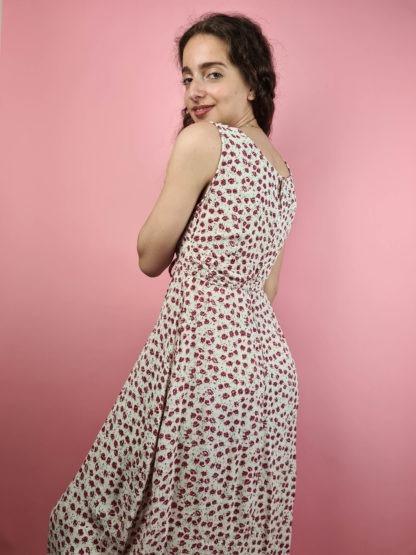 robe longue blanche motif fleuri (6)