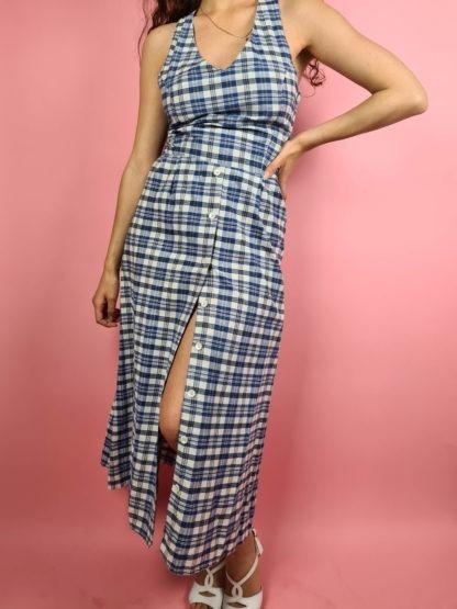 robe longue vintage bleue à carreaux (15)