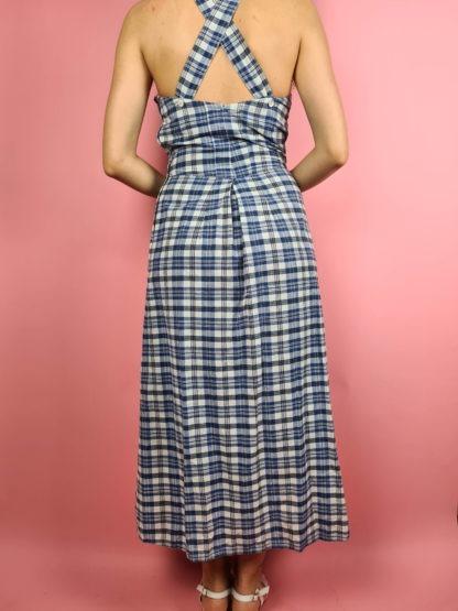 robe longue vintage bleue à carreaux (19)