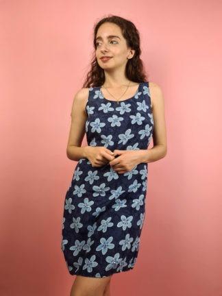 robe vintage bleue fleurs (8)