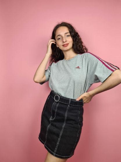t-shirt Adidas gris bandes roses (2)