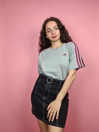 t-shirt Adidas gris bandes roses (4)