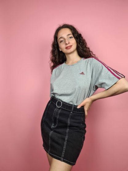 t-shirt Adidas gris bandes roses (5)
