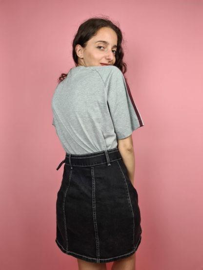 t-shirt Adidas gris bandes roses (6)