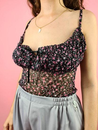 top noir à fleurs roses (6)