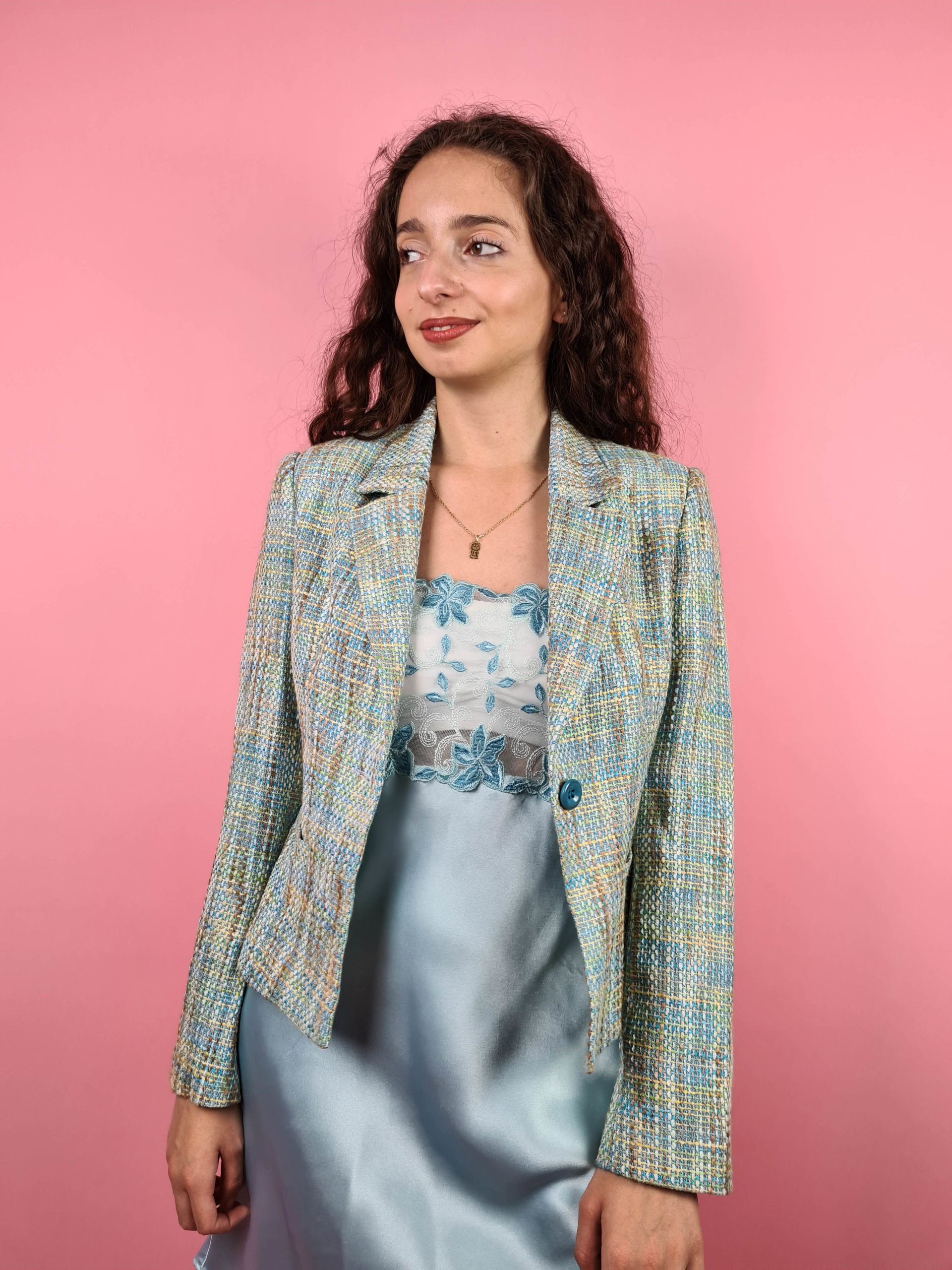veste en tweed bleue jaune (2)
