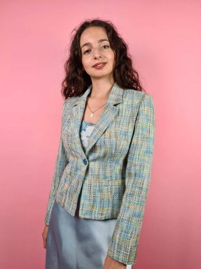 veste en tweed bleue jaune (5)