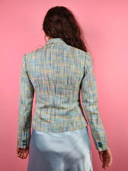 veste en tweed bleue jaune (6)