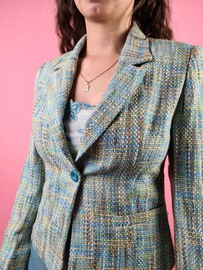 veste en tweed bleue jaune (7)